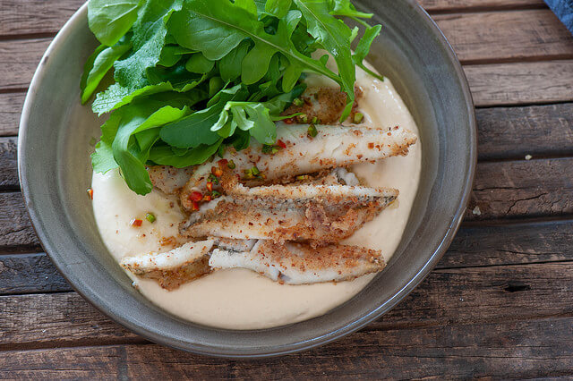 Almond Crusted Fish with Hummus