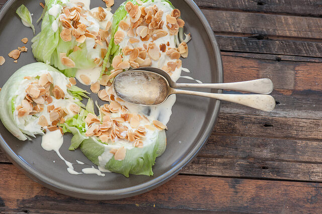 Crispy Iceberg Salad with Almond Crust