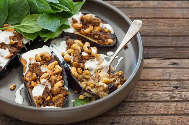 Curry Stuffed Eggplant with Yoghurt Recipe