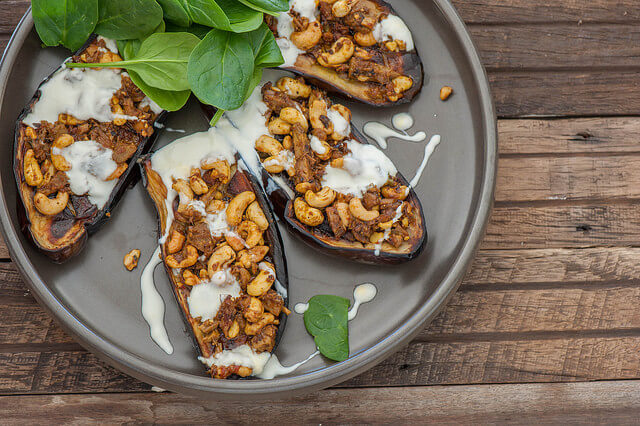 Curry Stuffed Eggplant with Yoghurt Recipe