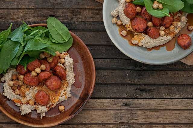 Hummus with Chorizo & Hazelnuts Recipe 3-step dinners