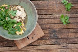 Lebanese Omelette with Almond 'Hummus'