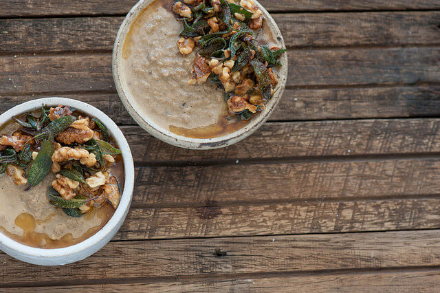 Mushroom Soup with Brown Butter Walnuts