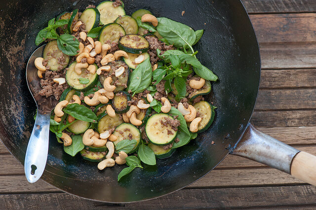 One Pot Beef, Zucchini & Cashew Stir Fry