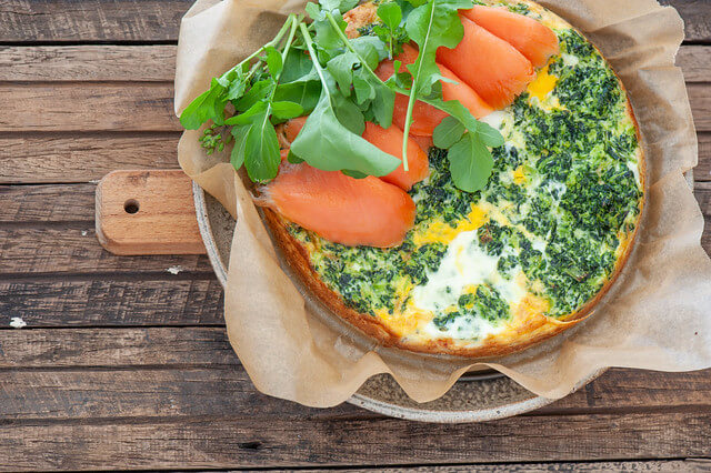 Super Easy Smoked Salmon Spinach Tart